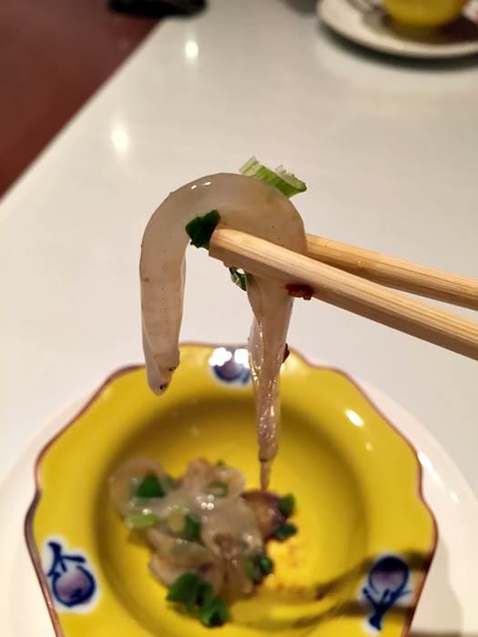 「のれそれ」のピリ辛中国醤油ソース